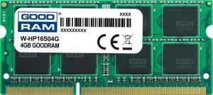 Pamięć DDR3 GOODRAM SODIMM 4GB 1600MHz  ded. do HP (W-HP16S04G)